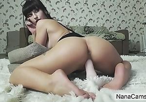 Beamy Irritant Brunette Rides Dildo on Live Webcam - NanaCams.com