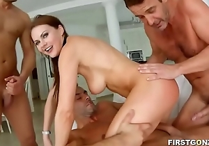 Sex-mad babe enjoys hardcore group-sex with creampie