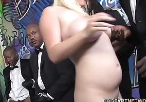 Shove around Blonde Cindee Gets Enjoys Interracial Gangbang