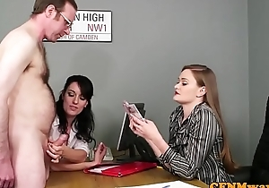 Office women wanking dick via CFNM fetish