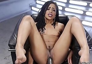 Ebony bangs vibrator and machine