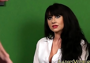 Busty clothed babe teases