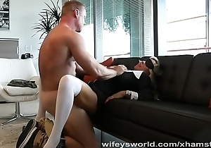Busty MILF Fucked And Filled In front Halloween Gang