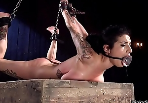 Brunette in the air natural big tits in bdsm