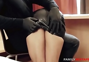 Oiled Up Step-Daughter Acquires Massaged Wide of Daddy In Latex Gloves