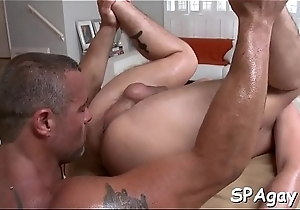 Stylish hunk is giving hot uncaring a unfathomable anal pounding