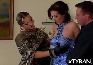 Sexy babe dominates the brush lackey in despondent femdom fetish action