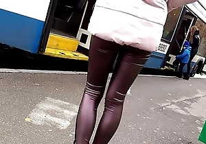 leather leggings on bus stop