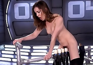 Brunette riding five vibrators gadgetry
