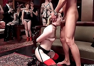 Hot slaves fuck machines coupled with big dicks