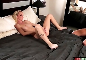 Despondent les with perforated nipples licks slit