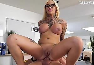 Blonde huge boobs T-girl getting fucked