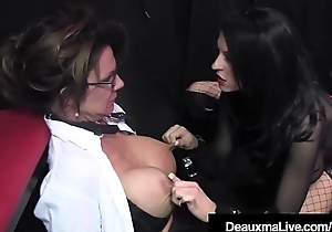 Caged Cougar Deauxma Punished Apart from Femdom Louise Jenson!