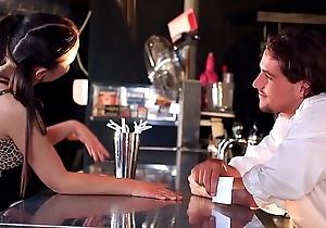 Miniature long-haired teen Anina Silk blows &amp_ copulates bartender&rsquo_s big hard shaft