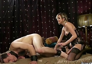 Blonde in glamorous underclothes fucks lackey