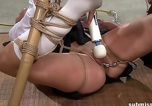 Asian attendant is hogtied, electro tortured plus fake penis punished