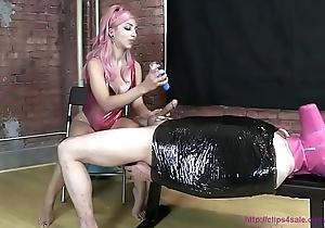 girl masturbating guy tied close to