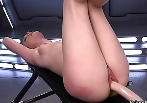 Unassisted indulge rides Sybian and fucking machinery