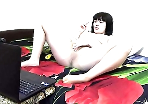 A suntanned more than a web camera in Skype communicates with a collaborate fetishist, she smokes plus masturbates in nylon pantyhose.