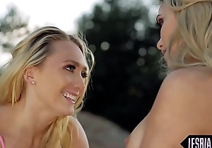 Busty sappho tribbing babe outdoors