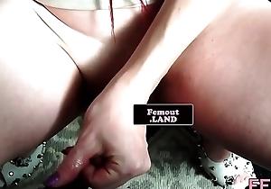 Unaccompanied trans newbie jerking her obese cock