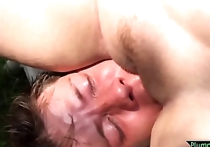Busty bbw facesitting youthful bloke not at home