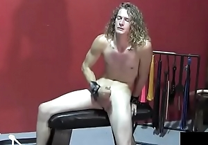 elegant boy jerk in bdsm courtyard