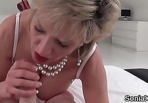 Unbecoming english milf lady sonia showcases her enormous titties