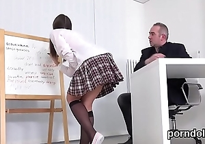 Lovable schoolgirl gets seduced together with group-fucked wide of senior schoolteacher