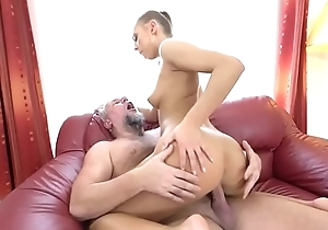 Stunning dour underwriter fucked by an grotesque gramps