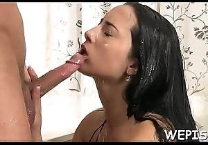After sucking knob and getting banged she'_s pissing on dick