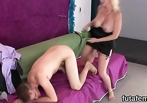 Chicks puncture boyfriends anal opening beside oversized strap-ons together with squirt jizm