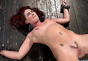 Waxed slave pussy drilled with sextoy