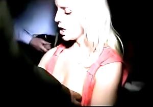 Hawt blonde sucking at one's fingertips porn cinema