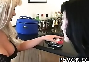 Busty neonate carrying-on everywhere her knockers during the time that smoking a cigarette