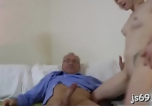 Packing her soft cunt lips around his significant put together cock