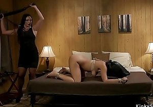Dominate lesbian hottie pain in the neck whipped lezdom