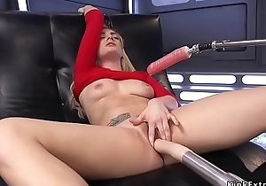 Comely bosomy blonde bangs machines