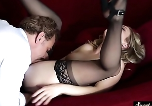 Pussylicked stepdaughter team-fucked round nylons
