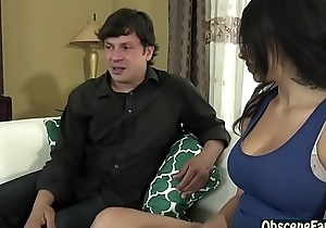 Slutty latina daughter copulates will not hear of represent dad