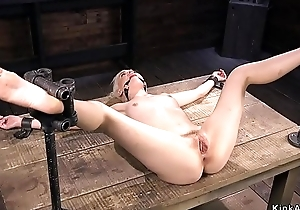 Spreaded legs bazaar in bdsm vibrated