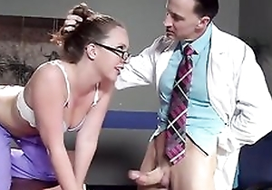 Sexy nurse in glasses receives properly fucked wide of her colleague