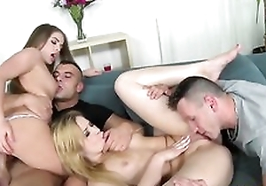Russian bimbos having sport with 2 hunky men heavens the couch