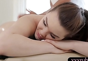 Irregular brunette babe receives banged by nasty black masseur