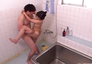 Exciting Oriental lady takes a nice shower before procurement fucked