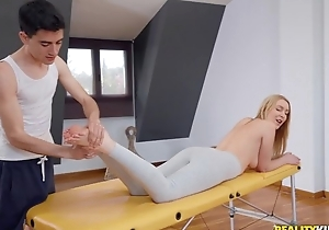 Fit blondie gets oiled up with the addition of drilled by their way masseur