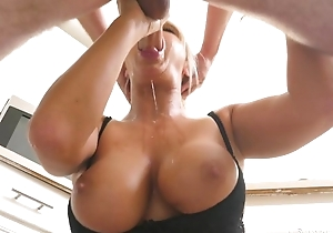 Light-complexioned MILF tributes lucky defy back a soaking oral-job