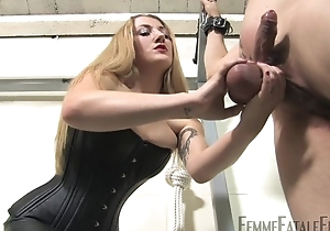 Blonde-haired mistress humiliates will not hear of personal slaveboy