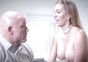 Bald-headed businessman copulates his magnificent secretary
