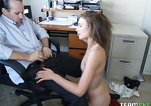 Kinky American girl on touching laconic cans gets sodomized by will not hear of boss